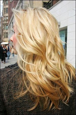 golden blonde highlighted hair