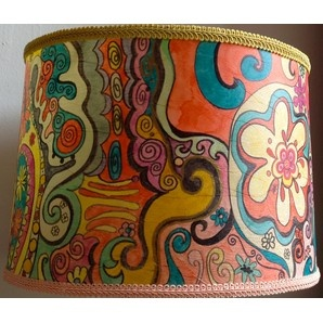 Psychedelic Summer Table Lamps By Barbara Kaslow Designs LLC: Hand Painted  Textured Mica Paper Lampshade With French Gimp 17 X 10