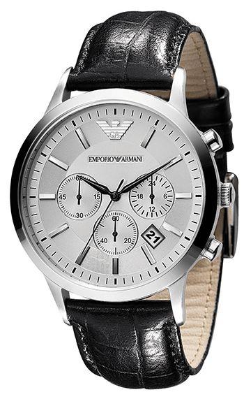 Montre Armani Homme - Quartz Chronographe - Date - Cadran Acier inoxydable Argent - Bracelet Cuir Noir