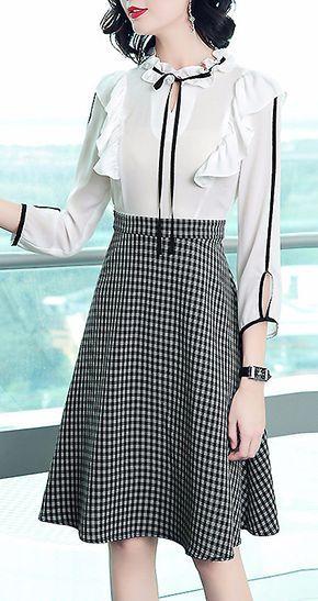 Elegant O-Neck Long Sleeve Houndstooth A-Line Dress