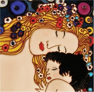 Gustav Klimt Mother and Child Painting on Ceramic