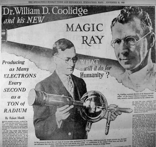 In 1913 William D. Coolidge invented the Coolidge tube which had a cathode filament made of tungsten.