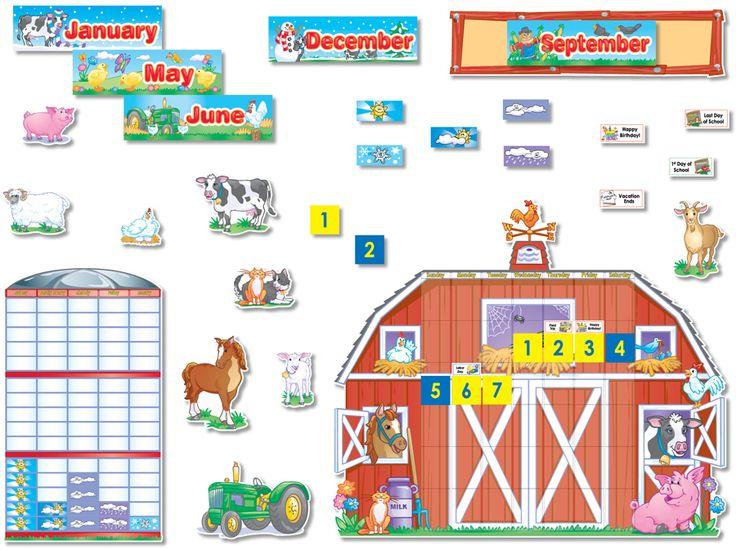 NS3011 Farm Animals Calendar Bulletin Board Set