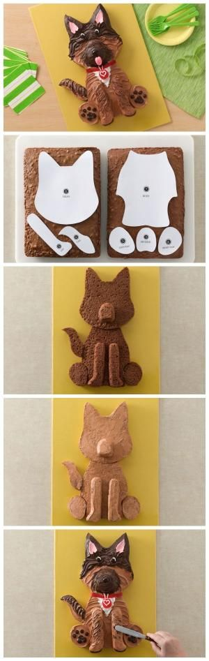 German Shepherd Dog Cake with template! by Tinemor