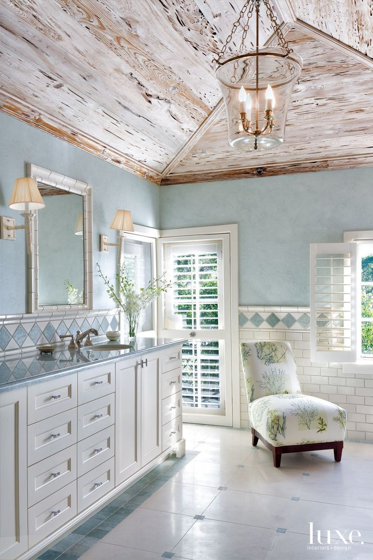 cool Traditional Blue Master Bathroom with Pale Blue Walls