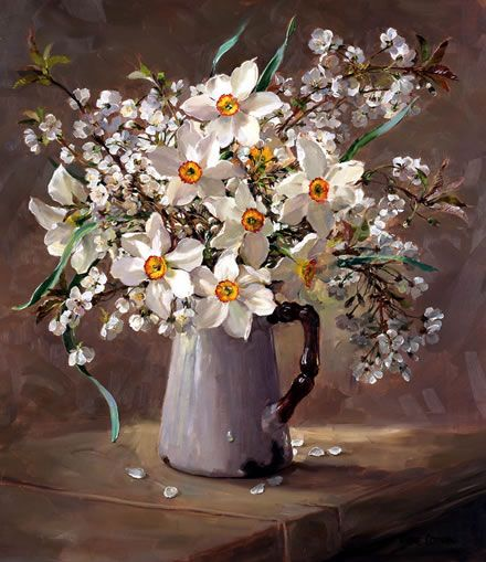 Narcissus and Wild Cherry Blossom - Limited Edition Print | Mill House Fine Art – Publishers of Anne Cotterill Flower Art