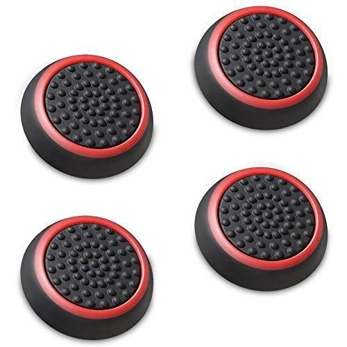 Fosmon [Set of 4] Analog Stick Joystick Controller Performance Thumb Grips for PS4   PS3   Xbox ONE   Xbox ONE S   Xbox 360   Wii U   Nintendo Switch (Black & Red)