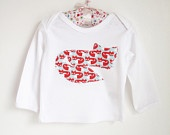 Organic Fair Trade Long Sleeved White Cotton T-Shirt with Appliqued Fox,  3 - 6 months