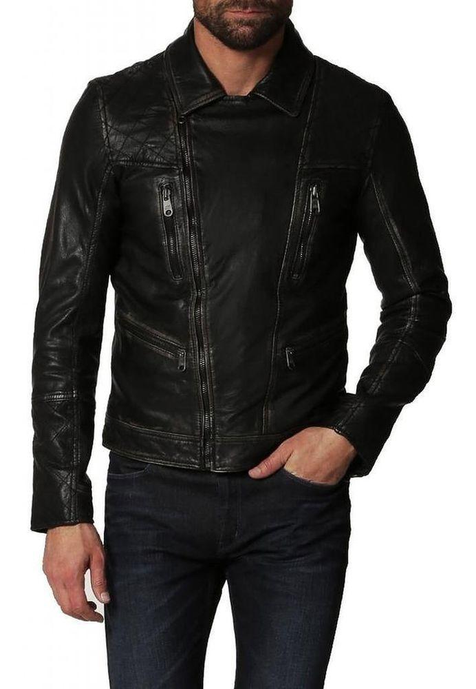 Mens Original Biker Leather Motorcycle Jacket Lambskin Genuine Zipper Coat SZ103 #Handmade #Motorcycle