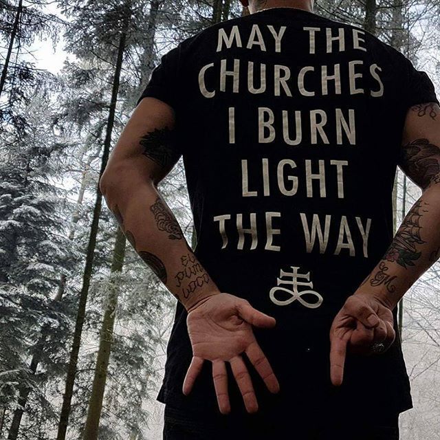 "We've rapidly sold out of our ""Light The Way"" Long Tee's. However, due to massive demand, we are considering a run of them on a new garment or different print... Gold/silver print? On a jumper? Raglan? Longsleeve? What do the people want? Shouts to a brother, @beesttattoos for braving the Dutch snow to shoot this - it was not in vain! #darkwear #blasphemy #blackwear #satan #lighttheway #altfashion #alternative #fashionstatement #fashionista #alternativeboy  #love #ryanwreckless #tattooedmen"