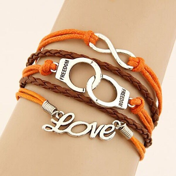 This item is Creative Handcuffs Eight Love Letter Infinity Personality Leather Woven Rope Alloy Five Loops Bangle Chain. The elegant Bracelet is catering to your different aesthetic value. The unique design make it charming and delicate. According to your own personal preferences, you can match it with all kinds of clothings according to actual. The following occasions, anniversary, engagement, gift, party, wedding, etc. are propitious to wear it.