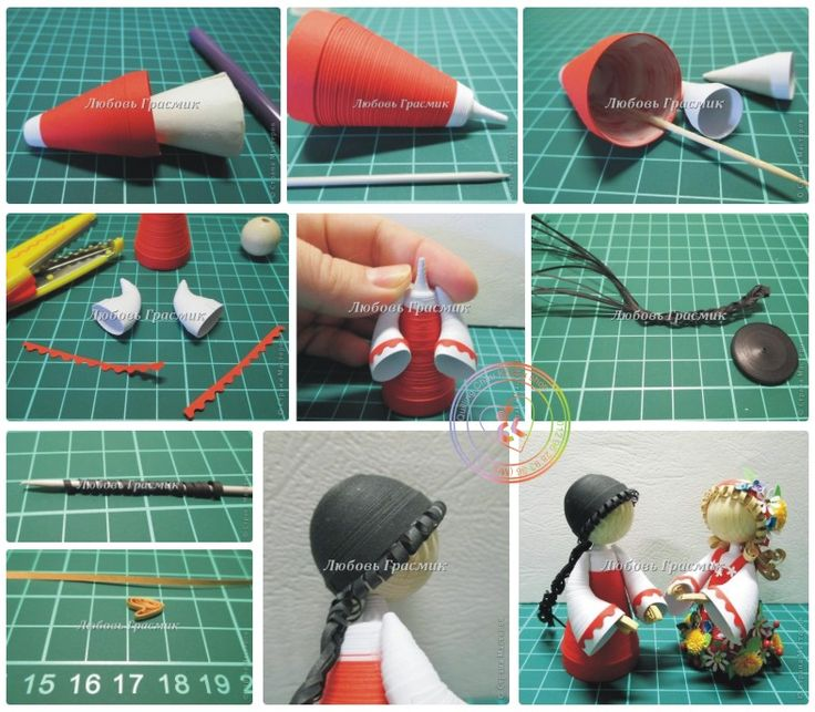 how to make 3d paper quilling dolls step by step