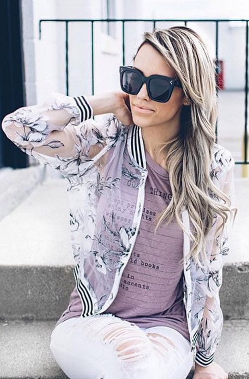 Our sheer floral zip up bomber jacket comes in both black and white and yellow. Add a feminine touch while staying edgy. It's a perfect layering piece, especially during the hotter days.