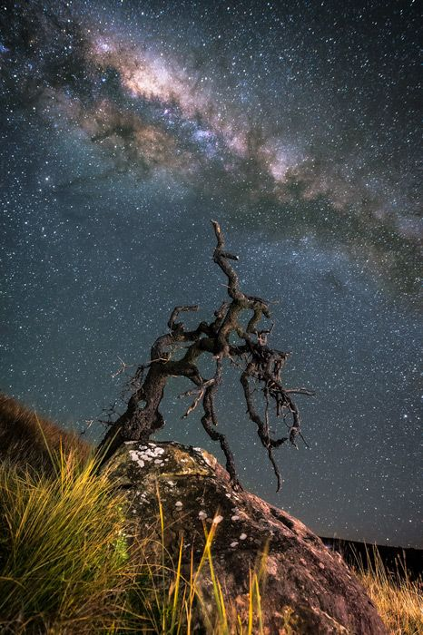Burning Milky Way Giants Castle Nature Reserve, Drakensberg, South Africa