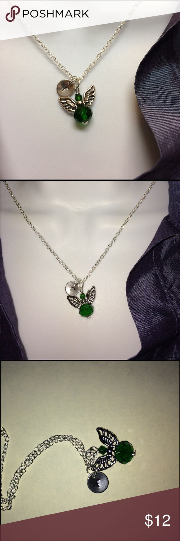 """May birthstone angel choose initial necklace. Personalized May green birthstone angel choose your initial letter necklace, will hand stamp the initial for your per order.  Necklace length: 19"""". -------#b4371 Jewelry Necklaces"""
