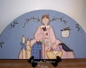Primitive Door Crown Angel Wood-Shelf Sitter-Handpainted Home Decor