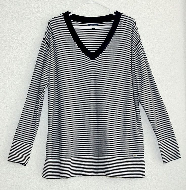 TOMMY HILFIGER Casual Nautical Woman's Top ~ Long Sleeves Knitted / Stripes XXL…
