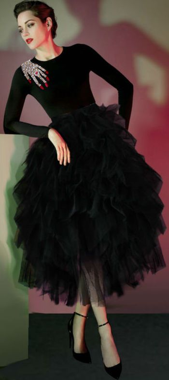 Black Embellished Knit Sweater & Ruffled Tiered Mesh Skirt
