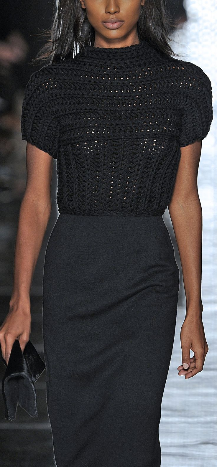 Les Copains. Milan Fashion Week FW13/14.   I want to crochet this. Looks easy.
