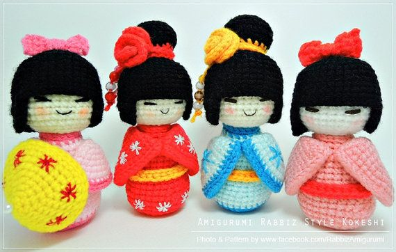 PDF Pattern Amigurumi Kokeshi Dolls by rabbizdesign on Etsy