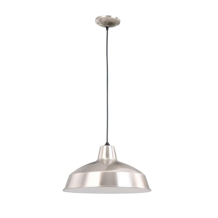Hampton Bay 1-Light Brushed Nickel Warehouse Pendant-AF