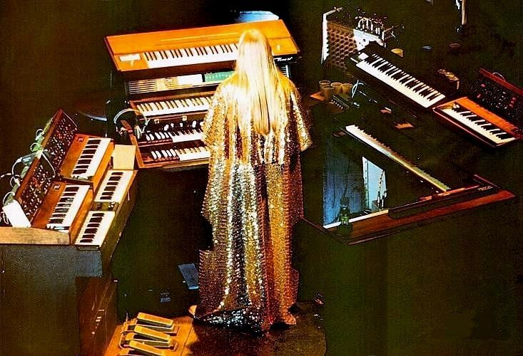 Rick Wakeman in his sequined cape on keys.