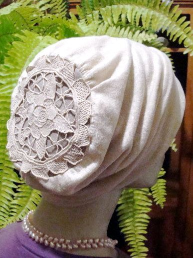 Womens Slouch Chemo Hat Cream Natural by GypsyLoveHeadbands, $45.00