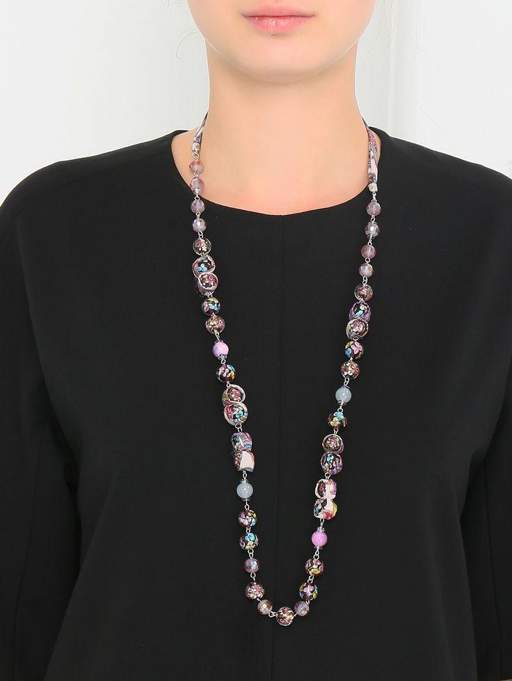 Купить Etro узор ожерелье из стекла и шелка (188141), цена на ожерелие в интернет-магазине Bosco.ru – 12 700 руб.