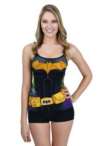 Prowl the night in style! This Batman Costume Cami And Short Set is perfect for strutting your stuff