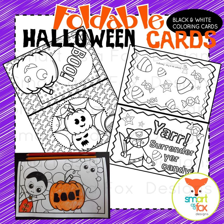 Halloween Cards Foldable Craft and Coloring Printable by Smart as a Fox Designs  •A total of 8 Black and White Foldable Halloween Cards in PDF format. •Print these Black and White Cards to have a Coloring Centered Halloween Craftivity! Students can simply fold the cards along the dotted line and color the images as they wish!  •All you need to do is Print and You're Ready to GO! :)  Terms of Use •All graphics are the creative property of the Clip Art by Smart as a Fox Designs shop owner on…
