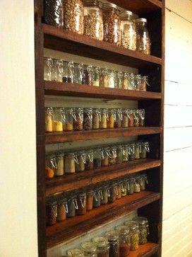 Spice Rack Design Ideas, organized spice rack, same type of spice jars, room for mason jars of legumes
