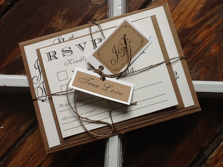 Set-Classy meets Rustic Wedding Invitations with rsvp card. $4.25, via Etsy.