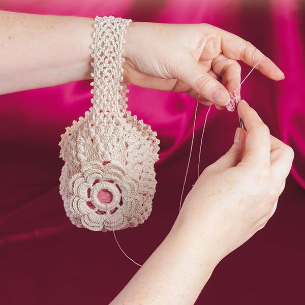 Free Crochet Pattern for Victorian Thread Holder...I love that this holds your smaller thread, great for crochet or tatting!
