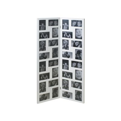 You can display 32 of your favourite photographs in this sturdy, hinged, wooden frame. Use it to create a montage of images from a special event, such as a wedding, or a mixture of photographs, old and new, of family and friends.