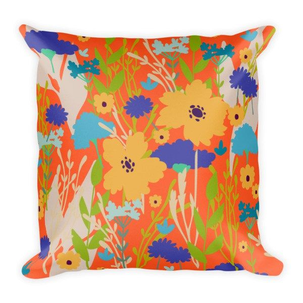 """Wild Flowers"" Square Pillow"