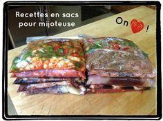 Recettes sacs mijoteuse: ex.  poulet teryaki, porc sauce dijon, boeuf italien. …
