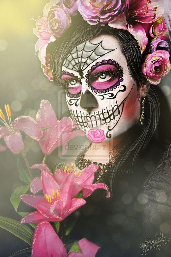 La Catrina by *MADmoiselleMeli on deviantART #halloween #dayofthedead #dead