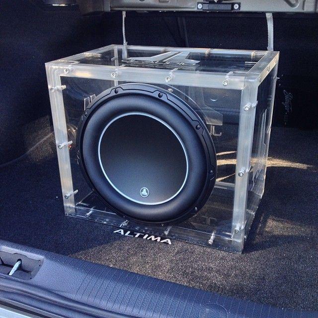 Installation of the machined acrylic JL Audio 12W6v3 enclosure went very well. custom car stereo trunk install JL Audio plexiglass lexan box enclosure