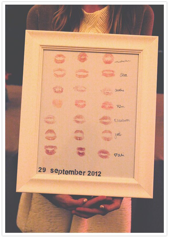 framed kisses from bridesmaids. such a wonderfully cute idea. Now to get the groomsmen to do it too! :D