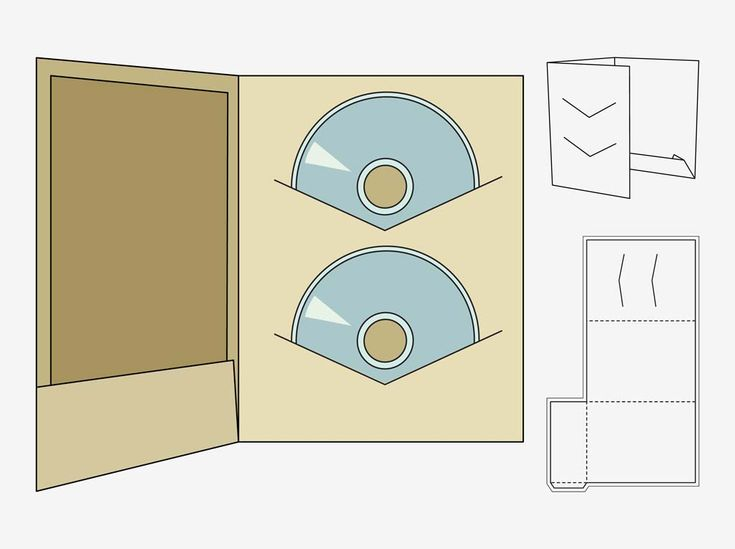 Paper craft vector footage of a printable CD case template Fold - compact cd envelope template