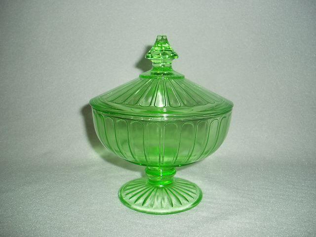 Green Ribbon Hazel Atlas Depression Glass Candy Jar & Lid Free U.S. Shipping #HazelAtlasGlass