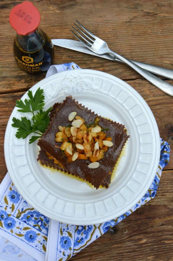 Lasagnette al cacao con zucca e mazzancolle alla salsa di soia Kikkoman