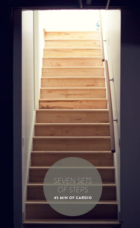 Stairs workout: Seven sets. Each set goes like this:  1. Walk up stairs, one at a time, 10x.  2. Walk up stairs, two at a time, 10x.  3. Jump to the 2nd step with both feet, squat, jump to the 4th step, squat, jump to the 6th step, squat, etc. Do this once.  4. Drop and do 10 pushups.