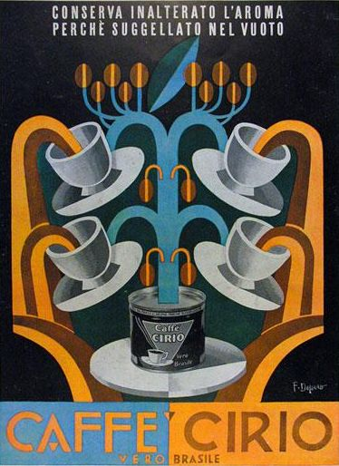 Poster by Fortunato Depero 1936, Caffe Cirio Italian Futurism