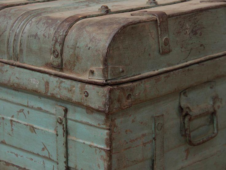 Vintage Blue Metal Trunk, industrial style interiors