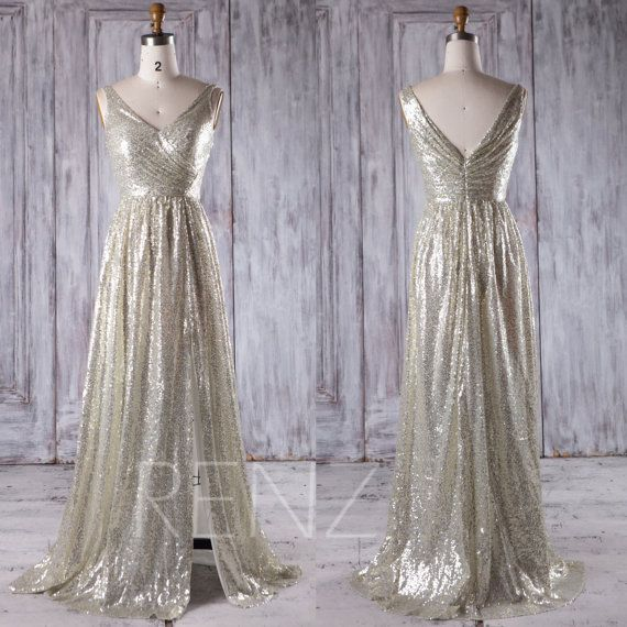 2016 Gold Silver Sequin Bridesmaid Dress Slit, V Neck Wedding Dress, A Line Evening Gown, Metallic Sparkle Ball Gown Floor Length (JQ192)