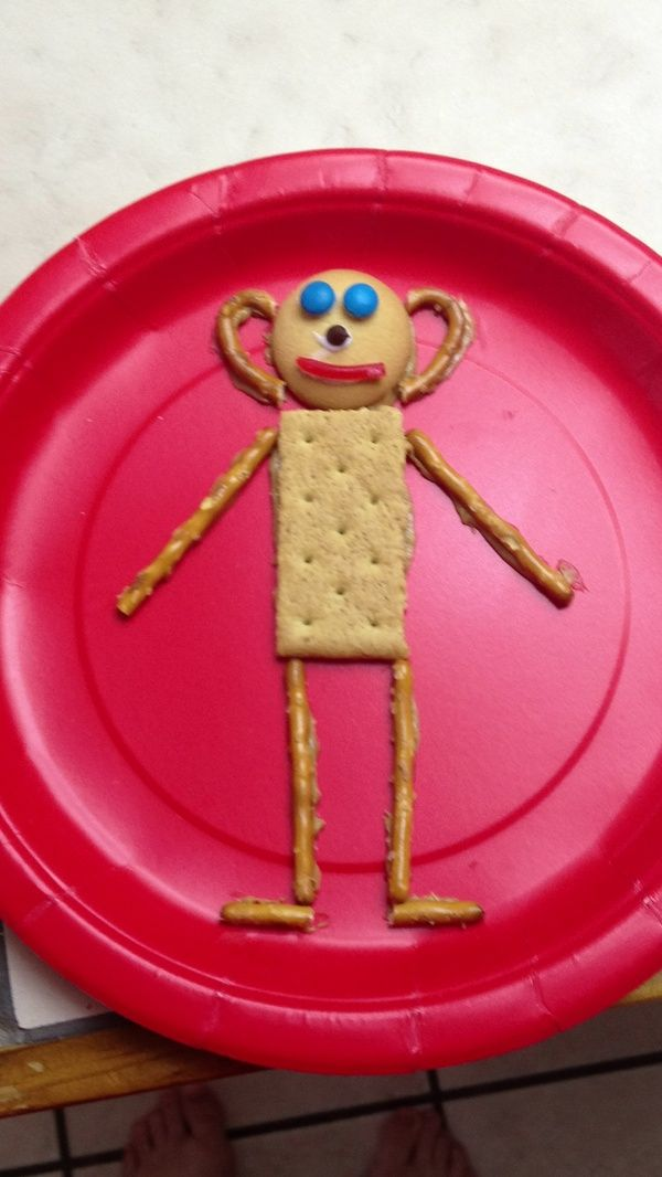 Mat Man snack with Graham Crackers, Pretzels, M&Ms and Licorice