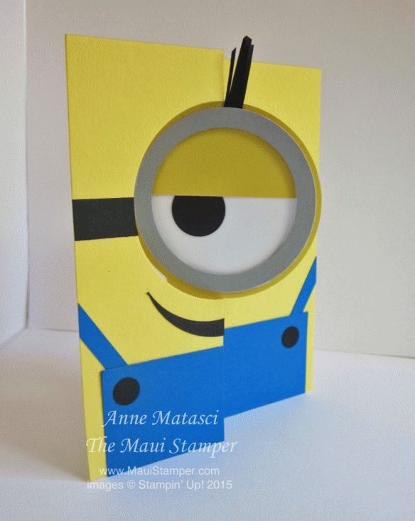 Maui Stamper Minion Circle Flip card