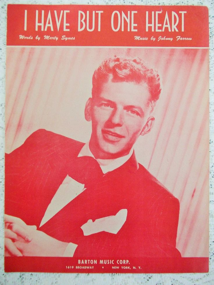 Frank Sinatra Sheet Music 1945, I Have But One Heart, Columbia Records