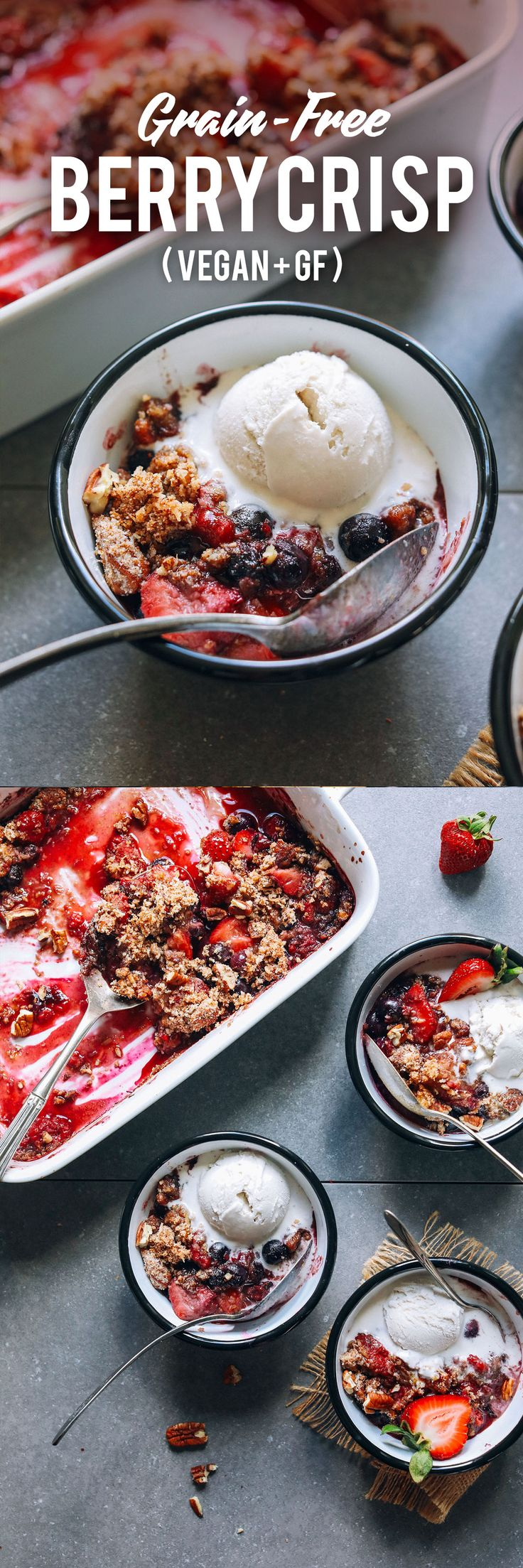 AMAZING Grain-Free Berry Crisp! 10 ingr. & naturally sweetened. Ingredients: mixed berries, maple syrup, starch, lemon juice, flour, shredded coconut, chopped nuts, coconut sugar, sea salt, oil or butter, maple syrup